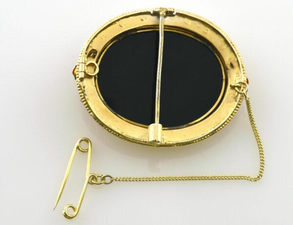 Brosche Onyxgemme 585/000 14 K Gelbgold
