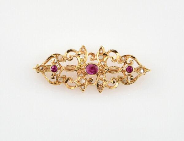 Brosche Rubin 585/000 14 K Gelbgold 18 Diamantrosen zus. 0,20 ct