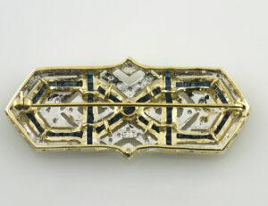 Brosche Saphir 585 14 K Gelbgold 42 Diamanten zus. 0,50 ct