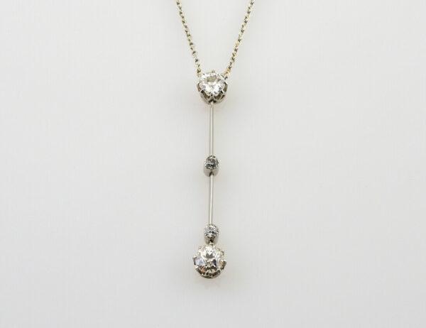 Collier 585/000 14 K Weißgold 4 Diamanten zus. 0,65 ct, 42 cm lang