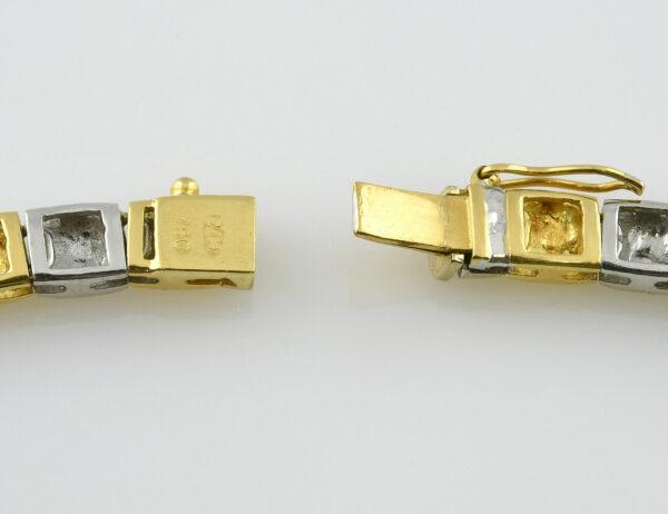 Collier 750/000 18 K Gelb-/Weißgold, 13 Brillanten zus. 0,57 ct, Länge 43,50 cm