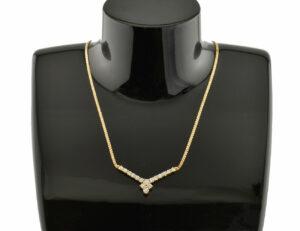 Collier Diamant 750/000 18 K Gelbgold, 17 Brillanten zus. 0,85 ct, Länge 42 cm
