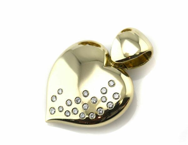 Diamant Anhänger 585/000 14 K Gelbgold 19 Diamanten zus. 0,38ct