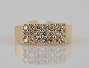 Diamant Ring 750 18 K Gelbgold 21 Brillanten zus. 0,75 ct