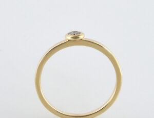 Diamant Solitär Ring 585/000 14 K Gelbgold Brillant 0,08 ct