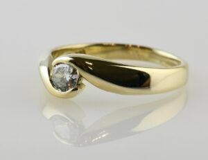 Diamant Solitär Ring 585/000 14 K Gelbgold Brillant 0,26 ct