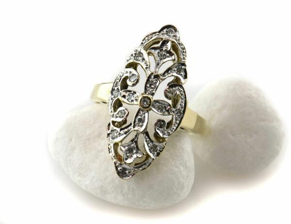 Diamantring 333 8 K Gelbgold 19 Diamanten zus. 0,20 ct