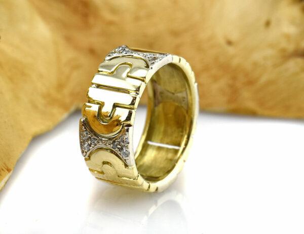 Diamantring 750 18 K Gelb/Weißgold 24 Diamanten zus. 0,24ct