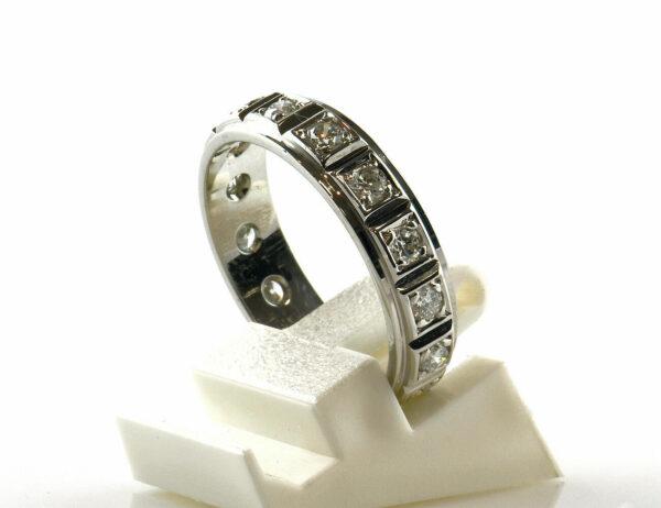 Diamantring Memory 750 18 K Weißgold 15 Brillanten zus. 0,45 ct