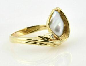 Keshiperlen Ring 585/000 14 K Gelbgold, Brillant 0,02 ct