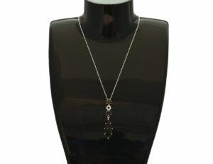 Kette mit Anhänger Rauchquar 333/000 Weißgold, 8 Diamanten zus. 0,08 ct, 45 cm
