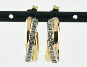 Ohrringe Stecker 585/000 14 K Rot-/Weiß-/Gelbgold, 20 Diamanten zus. 0,15 ct