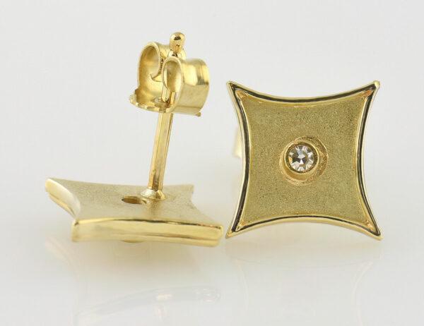 Ohrstecker 585/000 14 K Gelbgold, 2 Diamanten zus. 0,04 ct
