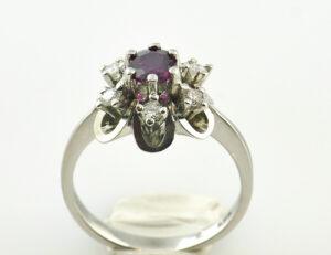 Rubin Diamantring 585/000 14 K Weißgold 6 Brillanten zus. 0,24 ct