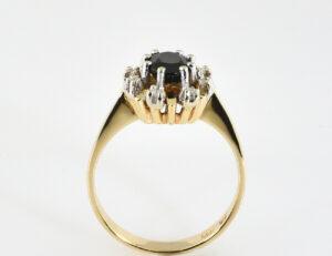 Saphir Diamantring 585/000 14 K Gelbgold 8 Brillanten zus. 0,12 ct