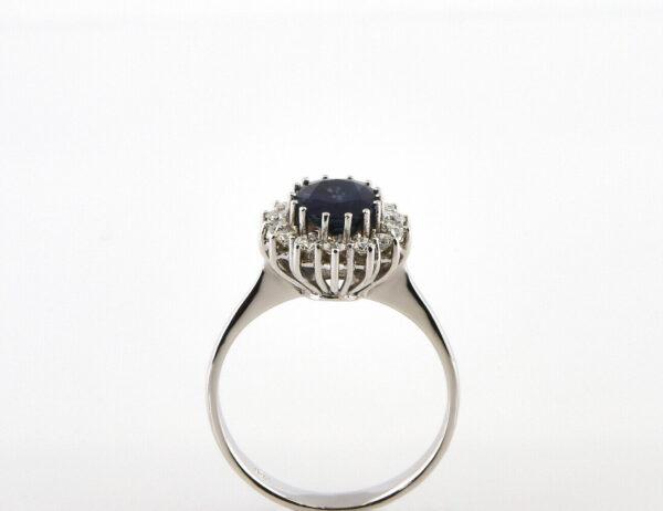 Saphir Diamantring 750/000 18 K Weißgold 14 Brillanten zus. 0,35 ct