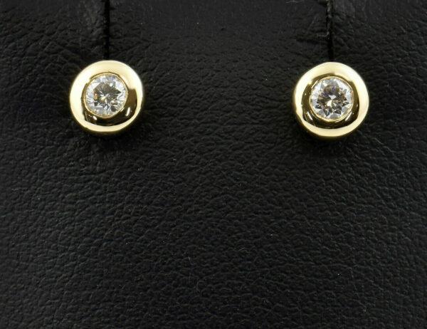 Solitär Diamant Ohrstecker 585/000 14 K Gelbgold, 2 Brillanten zus. 0,20 ct