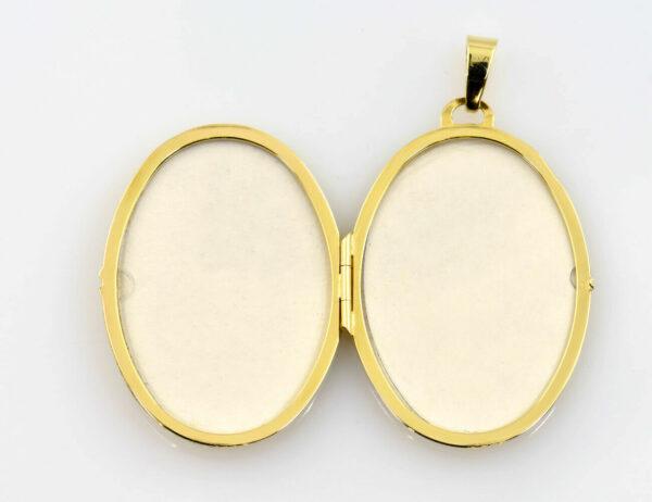 Anhänger Medaillon 333/000 8 K Gelbgold 2 Diamanten zus. 0,03 ct