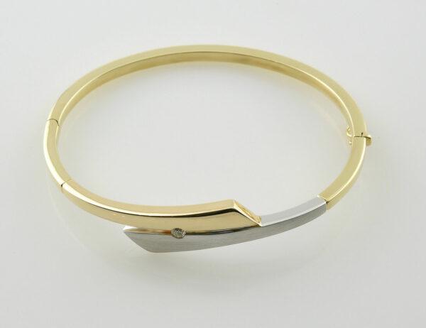 Armreif 585/000 14 K Gelb-/Weißgold 1 Brillant 0,06 ct