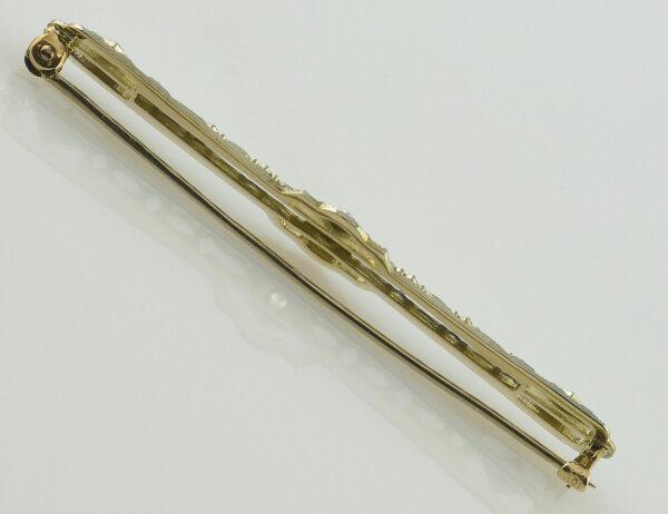 Brosche 375/000 9 K Gelbgold, 1 Diamant 0,03 ct