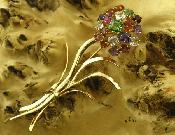 Brosche 585 14 K Gelbgold Amethyst, Rauchquarz, Citrin, Bergkristall, Granat