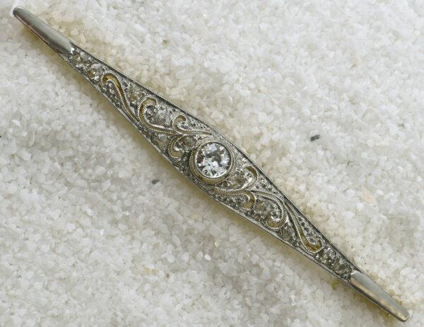 Brosche 585 14 K Gelbgold mit 12 Diamanten zus. 0,40 ct