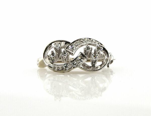 Brosche 585/000 14 K Weißgold 12 Diamanten zus. 0,22 ct