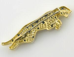Brosche Saphir 750 18 K Gelbgold Diamanten zus. 1,50 ct