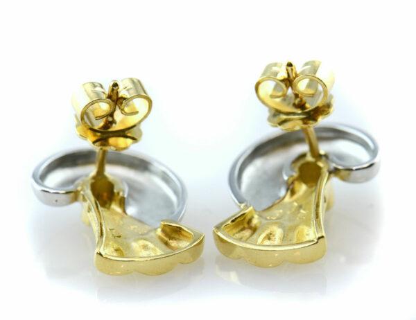 Colani Schmuck Ohrstecker 750 18 K Gelb/Weißgold, 2 Diamanten zus. 0,06ct