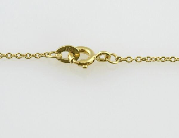Collier 585/000 14 K Gelbgold, 12 Diamanten zus. 0,30 ct, 47 cm lang