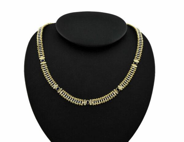 Collier Saphir 750/000 18 K Weiß-/Gelbgold 40 Brillanten zus. 0,60 ct 45 cm lang