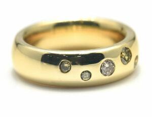 Diamant Ring 750 18 K Gelbgold 5 Brillanten zus. 0,28 ct
