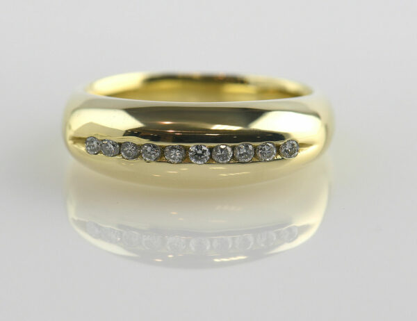 Diamant Ring 750/000 18 K Gelbgold 10 Brillanten zus. 0,17 ct