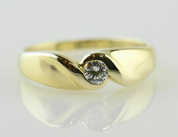 Diamant Solitär Ring 585/000 14 K Gelbgold Brillant 0,15 ct