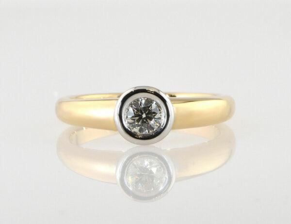 Diamant Solitär Ring 585/000 14 K Gelbgold Brillant 0,42 ct