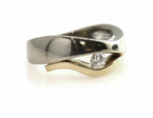Diamantring 585 14 K Gelb/Weißgold Brillant 0,25 ct