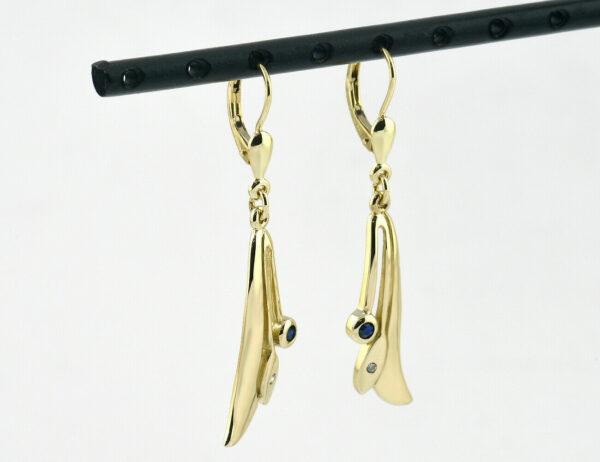 Ohrringe Hänger Saphir 585 14 K Gelbgold, 2 Diamanten zus. 0,02 ct