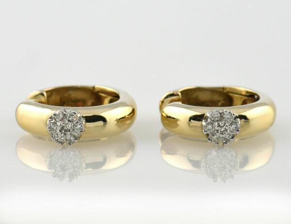 Ohrringe Scharniercreolen 585 14 K Gelbgold, 14 Diamanten zus. 0,12 ct