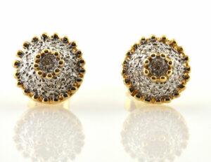 Ohrstecker 585/000 14 K Gelbgold, 22 Diamanten zus. 0,20 ct