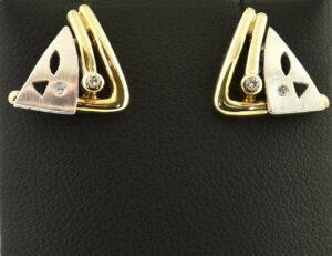 Ohrstecker 585/000 14 K Gelbgold, 4 Diamanten zus. 0,05 ct