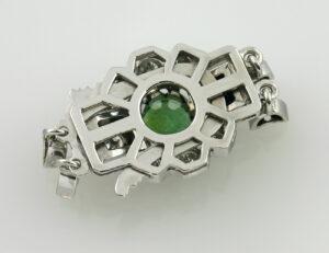 Perlenkettenschloß Smaragd 1,00 ct, 585 14 K Weißgold 8 Brillanten zus. 0,85 ct
