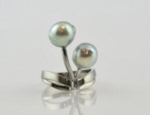 Ring Zuchtperle 750 18 K Weißgold