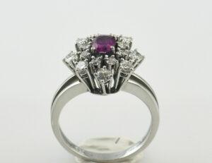 Rubin Diamantring 585/000 14 K Weißgold 15 Brillanten zus. 0,80 ct