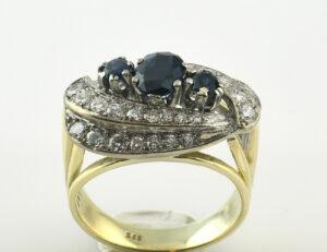 Saphir Diamantring 585/000 14 K Gelbgold 32 Brillanten zus. 1,00 ct