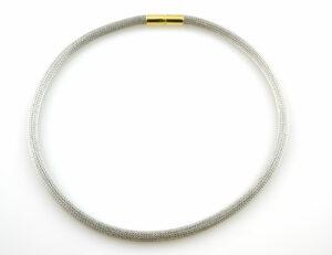 Schlauch, Geflecht Kette 44 cm 750/000 18 K Weißgold Verschluss Gelbgold