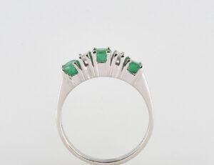 Smaragd Ring 585/000 14 K Weißgold, 4 Diamanten zus. 0,12 ct