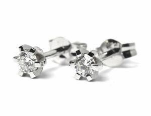 Solitär Brillant Ohrstecker Ohrringe 585 14 K Weißgold, 2 Diamanten zus. 0,33 ct