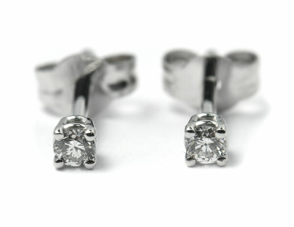 Solitär Brillant Ohrstecker Ohrringe 585 14K Weißgold, 2 Diamanten zus. 0,131 ct