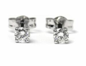Solitär Brillant Ohrstecker Ohrringe 585 14K Weißgold, 2 Diamanten zus. 0,329 ct