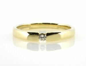 Solitär Diamantring 585/000 14 K Gelbgold Brillant 0,07 ct
